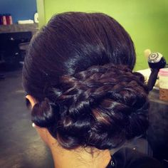 Braided low bun updo!