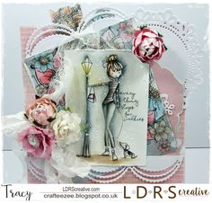 """Good morning everyone and it's a sunny one here in the UK. I am sharing today a card made using LDRS Creative """"Everything Stops for Walk. Good Morning Everyone, Little Darlings, Creative Cards, Rose Buds, Everything, Birthday Cards, Card Making, Girly, Gift Wrapping"""