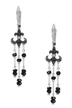 Chandelier Earrings Two-Tone Diamond Fleur-de-Lis & Black Spinel Beaded Tassel Earring