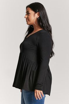 Product Name:Plus Size Babydoll Top, Category:CLEARANCE_ZERO, Price:15.9