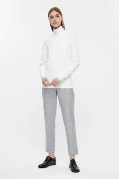 COS image 1 of Wool Melange Trousers in Light Grey