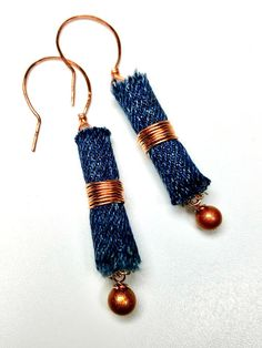 Blue Denim Earrings, Copper Earrings, Repurposed Jeans Earrings, Denim Jewelry, Upcycled Denim dangle earrings made from repurposed jeans that are made into beads then wrapped with copper wire and copper colored glass bead dangles. Ear wires are handmade from copper wire. These unique