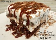 Decadent Brownie Pudding Recipe on SixSistersStuff.com