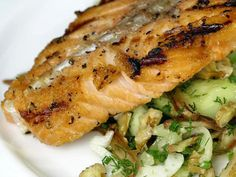 Grilled Salmon with Smashed Cucumber-Date Salad from FoodNetwork.com