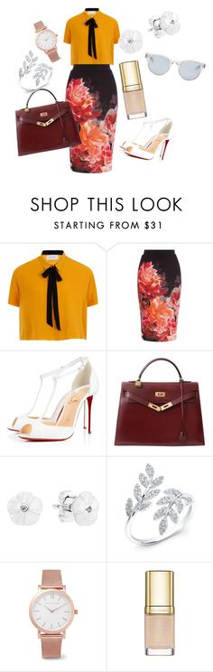 """""""yellow formal outfit"""" by didimarley on Polyvore featuring Coast, Christian Louboutin, Hermès, Pandora, Larsson & Jennings, Dolce&Gabbana and Sun Buddies"""