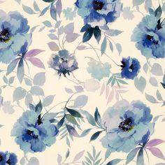 John Lewis Blooms Watercolour Fabric, Blue