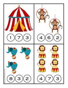 Clown Crafts, Circus Crafts, Preschool Circus, Preschool Math, Summer Activities For Kids, Math For Kids, Montessori Activities, Kindergarten Activities, Kids Math Worksheets