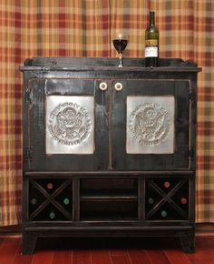 Cabinet Liquor Wine Dry Sink Wet Bar Punched by RedBudPrimitives, $488.75