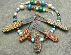 Indian Corn Necklace Green Brown Turquoise by LisaPierceJewelry, $149.00