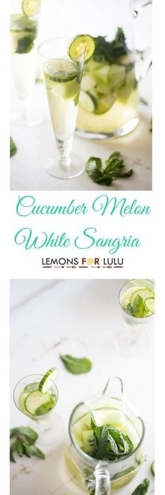 A refreshing white sangria recipes with fresh cucumber, melon and mint! Party Drinks, Cocktail Drinks, Fun Drinks, Alcoholic Drinks, Beverages, Sangria Party, Sangria Recipes, Cocktail Recipes, Smoothie Recipes
