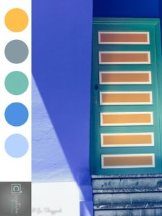 'Cobalt Door' photographic print inspired colour palette. Yellow, blue and greens as seen in Jardin Majorelle, Marakech