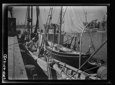 Gloucester, Massachusetts. A dragger alongside a wharf Photographer Howard Liberman Created September 1942