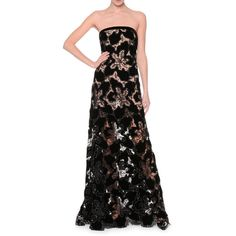 Giorgio Armani Strapless Embellished-Lace Bustier Gown ($8,780) ❤ liked on Polyvore featuring dresses, gowns, black, a line gown, a line dress, lace evening dresses, lace gown and see through dress