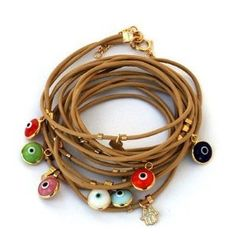 Amulet Gifts Leather Bracelet with Gold Evil Eye Charms By MIZZE: Amazon.co.uk: Jewellery