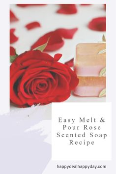 Easy melt and pour rose soap - I used both glycerin soap and goat's milk soap - with gold mica sparkles! Perfect Mother's Day Gift! #meltandpour #meltandpoursoap #rosegold #rosesoap #HomeMadeSoapDIYs #homemadesoap #rosegoldsoap #diygifts Clear Glycerin Soap, Melt And Pour, Soap Labels, How To Make Paper Flowers, Rose Soap, Fall Scents, Perfect Mother's Day Gift, Repurposed Items, Mother's Day Diy