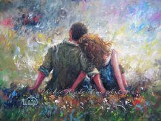 Loving Couple Print art couple in love lovers by VickieWadeFineArt,