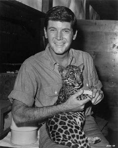 Frankie Avalon and cat