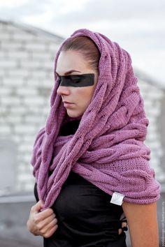 Купить снуд с косами - бледно-розовый, орнамент, полушерстяной шарф, шарф-труба, снуд