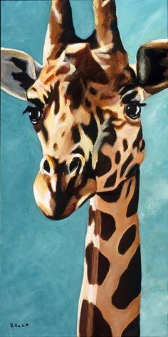 acrylic paintings of jungle animals | Painting-Animals-Billie K.: Original Fine Art Giraffe Painting ...
