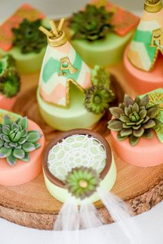 These dream catcher and cactus styled chocolate oreos as stunning for a Boho baby shower.