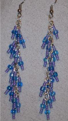$5 Blue and Purple Dangle Earrings - blue, purple, dangle, chain, seed beads, jewelry by BeadsByCelleste on Artfire