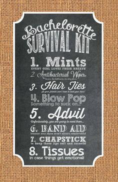 INSTANT DOWNLOAD - Bachelorette Party Survival Kit Label - Chalkboard