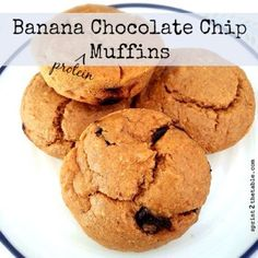 Banana Chocolate Chip Protein Muffins by Sprint 2 the Table