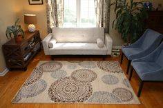 Contemporary Modern Flowers Wool Area Rug gift for friends