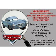 Disney Cars Agent Finn McMissile Birthday Party Invitation