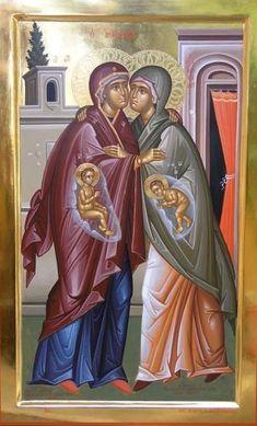Aσπασμός Saint Elizabeth, Byzantine Art, Orthodox Christian Icons, Jesus Christ Art, Art, Catholic Art, Christian Art, Art Icon, Sacred Art