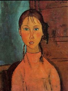 Amedeo Modigliani - Girl with Braids - Oil on canvas - Original size (cm) : 60 x 45.5  Current location : Nagoya, The Nagoya City Art Museum