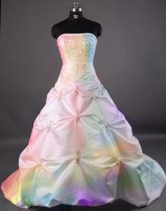 Rainbow wedding dress. Ball room style. This would be my second choice