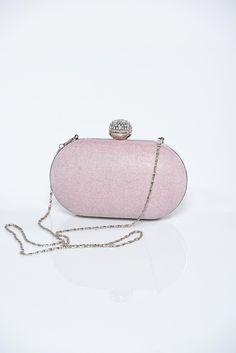 Comanda online, Geanta dama plic roz deschis cu accesoriu metalic cu aplicatii cu sclipici. Articole masurate, calitate garantata!