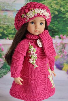 Knitting Dolls Clothes, Crochet Doll Clothes, Knitted Dolls, Girl Doll Clothes, Doll Clothes Patterns, Crochet Dolls, Girl Dolls, Crochet Baby, Baby Dolls