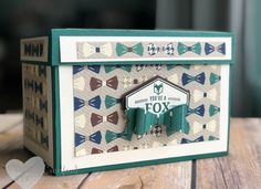 Create a large recipe box using a scoring tool or Stampin' UP! trimmer. This box features the True Gentlemen and Truly Tailored Bundle Wendy Cranford www.luvinstampin.com