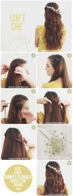 Hair Accessories - Flower Crown / Headband with Braided style - Hair Tutorial