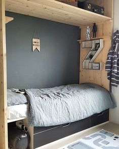 BOYS BED - Got a make-over. The big boy loves it, but maybe his mother loves it even more 😂😍. Time to relax and go out with the kids. Boys Room Design, Boys Room Decor, Room Decor Bedroom, Kids Bedroom, Casa Kids, Teen Boy Bedding, Room Inspiration, Home Decor, Ana White