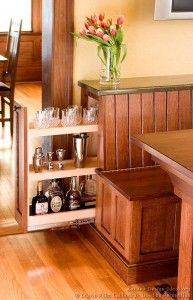 Ingenious storage in this Arts and Crafts Breakfast Nook bench! A full-width hinged top provides access to the interior, and the pull-out component to the left stays hidden behind the door until needed. Could add a lock if you have kids. Kitchen Booths, Kitchen Benches, Kitchen Nook, Kitchen Cabinets, Kitchen Storage, Kitchen Island, Kitchen Ideas, Kitchen Banquette, Kitchen Inspiration