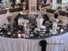 candy buffet photos   Our black and white candy buffet « Weddingbee Gallery