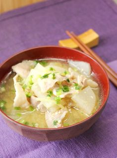 Miso soup with pork, daikon and ginger あったか♡豚バラ大根の生姜味噌汁 Paleo Keto Recipes, Soup Recipes, Diet Recipes, Cooking Recipes, Japanese Soup, Japanese Dishes, Ginger Pork, Asian Recipes, Gourmet