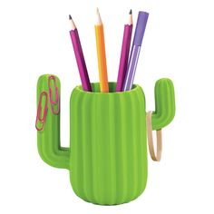 Cactus+Desktop+Organiser+-+Keep+your+desk+space+looking+sharp+(pun+intended)+with+the+Cactus+Desktop+Organiser! This+quirky+pen+pot+from+Mustard+is+a+fun+way+of+keeping+your+stationery+tidy,+and+will+also+add+a+splash+of+colour+to+proceedings.+Cactus+motifs+are+a+hot+trend+at+the+moment;+a+sub-trend+of+the+bright+and+beautiful+tropical+style+which+also+brought+us+oodles+of+funky+pineapple-themed+home+accessories…