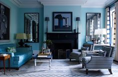 Doing a make over to my living room, and this style is definitely in the makes. Grey And Yellow Living Room, Living Room Turquoise, Teal Living Rooms, Blue Rooms, Living Room Designs, Living Room Decor, Turquoise Walls, Decor Room, Blue Walls