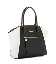Carry Your Essentials With Ease And Fashion This Colorblock Satchel By Calvin Klein