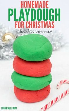 This easy homemade playdough for Christmas is peppermint scented and takes just 5 minutes to make with 6 simple ingredients! It's a perfect homemade Christmas gift or stocking stuffer for kids! Get the easy step-by-step recipe here