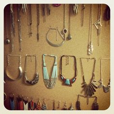 DIY corkboard & t-pin jewelry organizer.