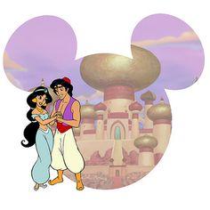 Aladdin- Jasmine & Aladdin Disney Crafts, Disney Fun, Disney Trips, Disney Movies, Disney Cruise, Disney Characters, Mickey Y Minnie, Mickey Head, Aladdin And Jasmine
