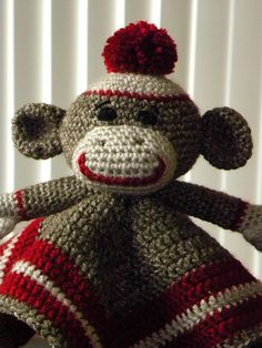 How stinking cute is THIS??!  Sock Monkey Lovey Security Blanket by CarrieChelle, via Flickr
