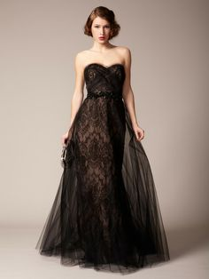 Marchesa Couture: Silk Lace Column Tulle Overlay Gown    I'm such a lace whore.