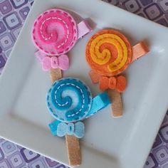 felt lollipop hair clips