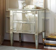 Shop park mirrored bedside table from Pottery Barn. Our furniture, home decor and accessories collections feature park mirrored bedside table in quality materials and classic styles. Mirror Bedside Table, Mirrored Side Tables, Mirrored Nightstand, Mirrored Furniture, Dresser With Mirror, Furniture Covers, Furniture Upholstery, Modern Furniture, Bedside Cabinet